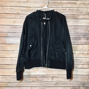 NEW Free People Black Bomber Jacket Large